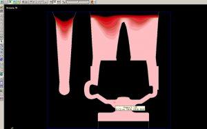 Рисунок 10в – Усадка при времени заливки 15 с (сечение XZ)