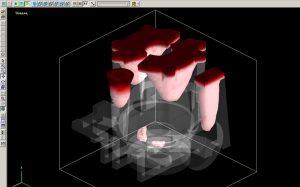 Рисунок 11а – Усадка при времени заливки 35 с (прозрачная 3Д-модель)